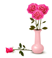 Holiday background with pink roses in a vase. Vector.