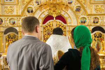 Orthodox Church, candles, cross, baptism, baptismal font