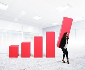 Businesswoman up the company profit