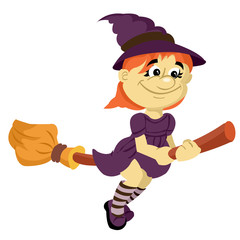 little witch on a broom