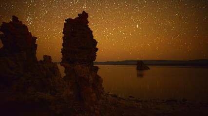 Time Lapse Mono Lake Tufa Tower  Perseids Meteor Shower