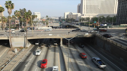 Time Lapse of Overpass on the 101 Freeway in Downtown Los Angeles