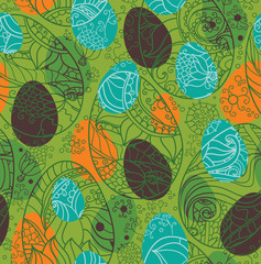 Decorative seamless pattern with Easter eggs.