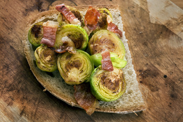 Grilled Brussels sprouts with bacon