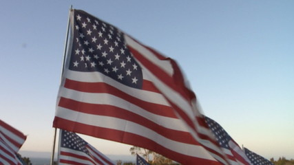Slo Mo of American Flags