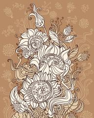 Fertile sunflowers. Decorative floral illustration.