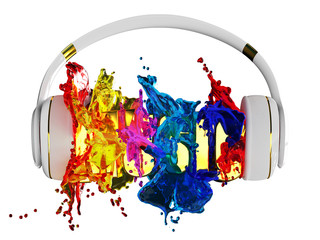 explosion of glossy color paint from the headphones.