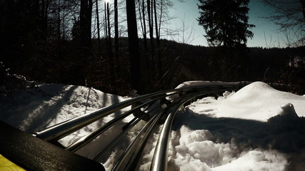 Grunge-styled footage: Bobsleigh attraction in a snowy forest.