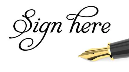 Sign here handwritten