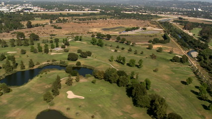 Aerial View of Golf Course Los Angeles Suburbs California