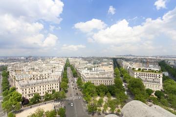 パリ凱旋門から望むパリ街並 北の方角 モンマルトル方面