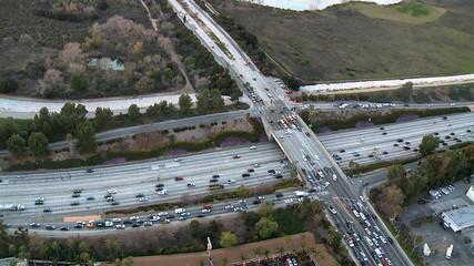 Aerial View of Freeway  / Highway Interchange Los Angeles - Clip 1
