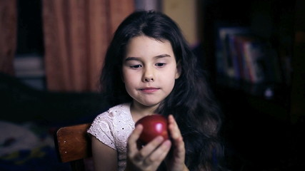 Teen girl child eating an apple bites a healthy diet for six