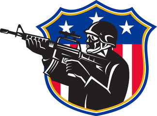 Soldier Swat Policeman Rifle Shield