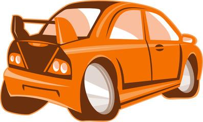 Sports Car Rear Cartoon Isolated