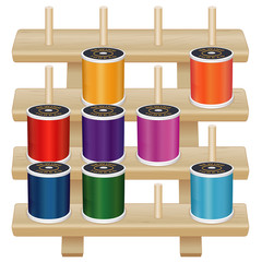 Wood Rack spools of thread sew tailor quilt embroider DIY crafts