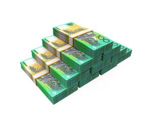 Stacks of 100 Australian Dollar Banknotes