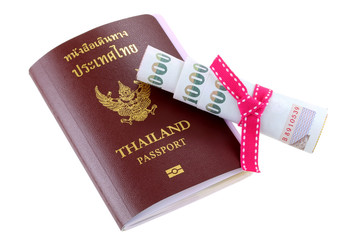 Thai electronic passport with some pocket money in Thai Baht