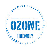 Blue vector circles grunge stamp OZONE FRIENDLY poster