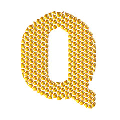 3D Gold Dotted Alphabet Q on white background