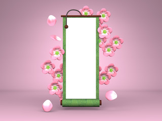 Cherry Blossoms And Scroll On Pink Background
