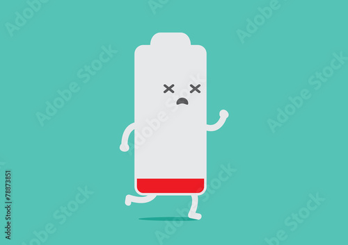 Battery low energy to running in flat cartoon version - 78873851