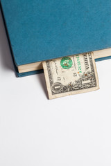 Dollars in the books, isolated on white background, business tra