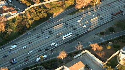 Aerial View of Los Angeles Freeway / Highway