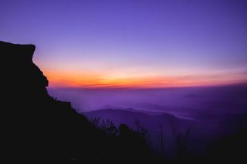 Sunrise and mountain sea of fog at Phu chi fa in Chiangrai