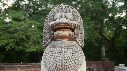 Zoom Out of Restored Guardian Lion Statue - Angkor Wat, Cambodia