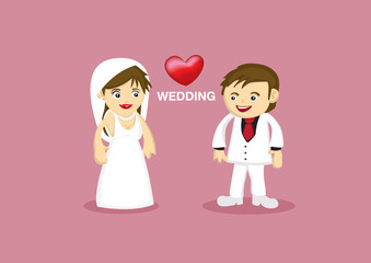 Romantic Wedding Couple Vector Cartoon