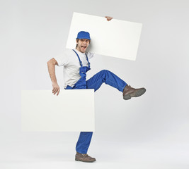 Funny photo of a builder with boards