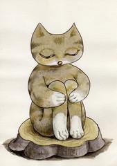 切り株と眠る猫