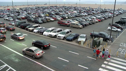 Time Lapse of Busy Parking Lot in Santa Monica