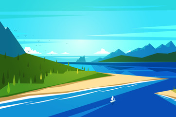Seashore landscape. Vector illustration.