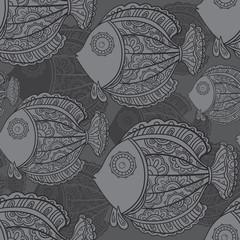 seamless pattern of a lot of beautiful decorative fishes