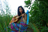 Hippie playing guitar. Boho-chic. Bohemian  boho style. Freedom. poster