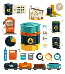 Oil Production. Infographic elements.
