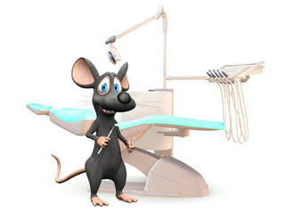 Smiling cartoon mouse at the dentist.