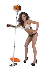 Sexy woman with mower