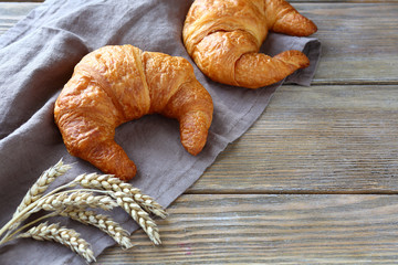 croissants on wooden boards