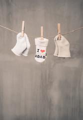 Baby socks hanging clothesline