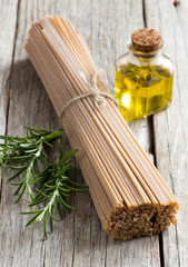 Whole wheat spaghetti, olive oil and rosemary