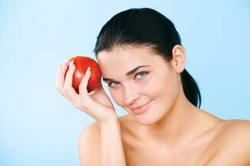 beauty holding  apple while isolated