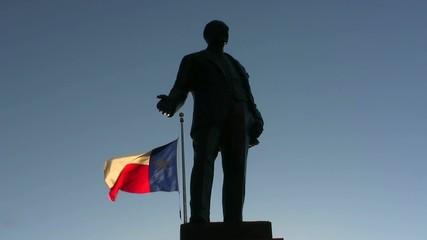 Texas Flag And Statue Dallas Texas