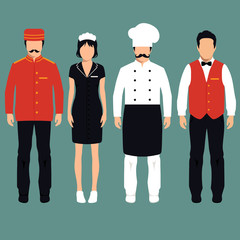 vector icon hotel service profession, cartoon worker uniform,
