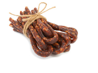 Bulgarian traditional sausage Bireni. Isolated on white