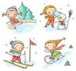 Kids winter outdoors activities - 78883043