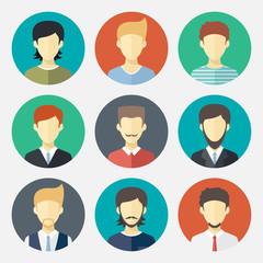 Set of man avatar flat design icons