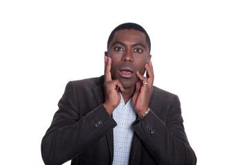 Afroamerikanischer Geschäftsmann ist schockiert
